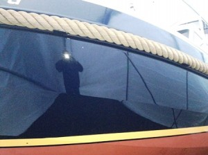 Yacht fertig lackiert